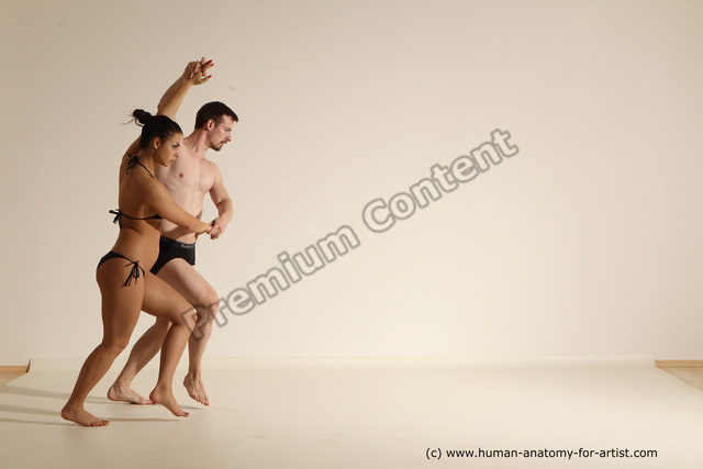 Photo of Underwear Woman - Man White Average Short Brown Dancing Dynamic poses
