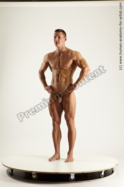 Photo of Nude Man White Standing poses - ALL Muscular Short Black Standing poses - simple