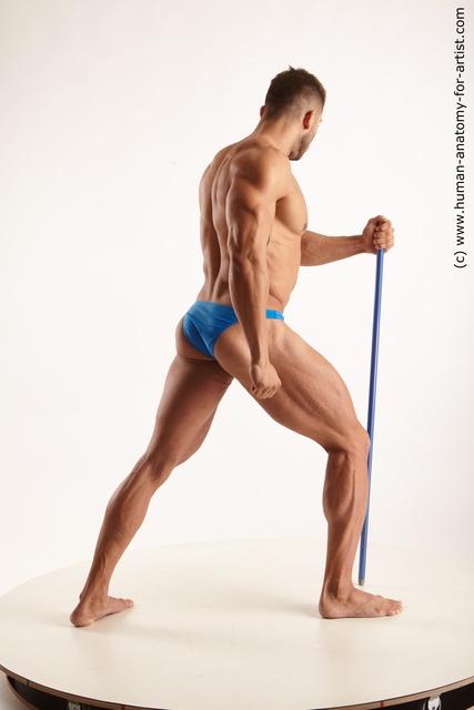 Underwear Fighting with sword Man White Muscular Medium Black
