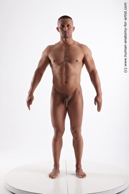 Nude Man Another Standing poses - ALL Muscular Short Black Standing poses - simple