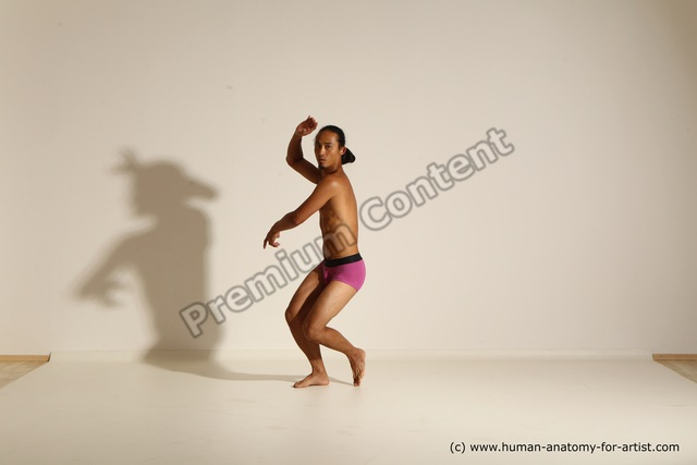 Underwear Martial art Man Asian Standing poses - ALL Slim Long Black Standing poses - simple Dynamic poses