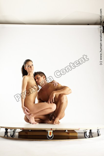 Nude Woman - Man White Muscular Short Brown Multi angles poses
