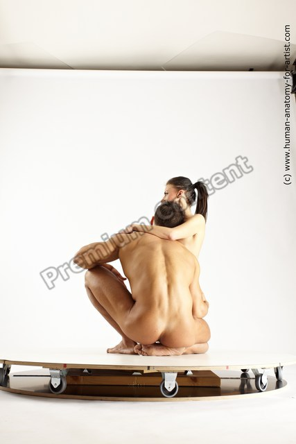 Photo of Nude Woman - Man White Muscular Short Brown Multi angles poses