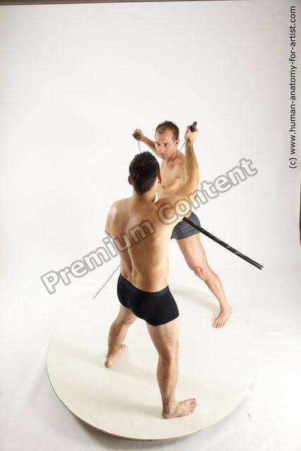 Underwear Fighting Man - Man White Muscular Short Brown Multi angles poses