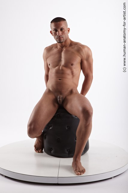 Nude Man Another Sitting poses - simple Muscular Short Black Sitting poses - ALL