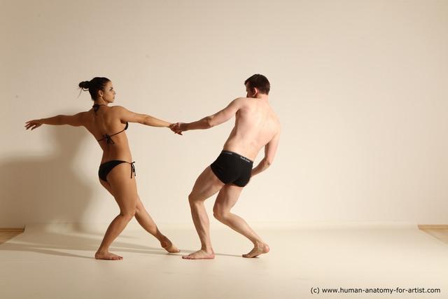 Underwear Woman - Man White Average Short Brown Dancing Dynamic poses