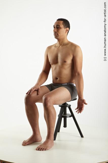 Man Black Sitting poses - simple Average Short Black Sitting poses - ALL
