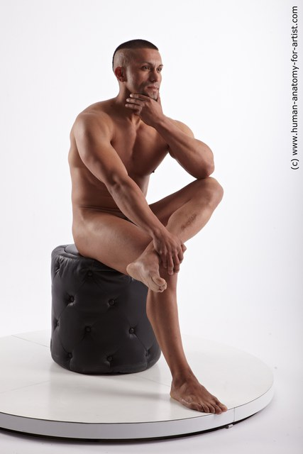 Nude Man Black Sitting poses - simple Muscular Short Black Sitting poses - ALL