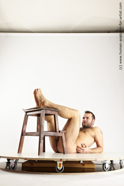 Nude Man White Laying poses - ALL Average Short Brown Laying poses - on back Multi angles poses