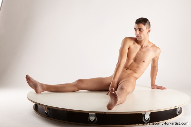 Nude Man White Sitting poses - simple Athletic Short Brown Sitting poses - ALL