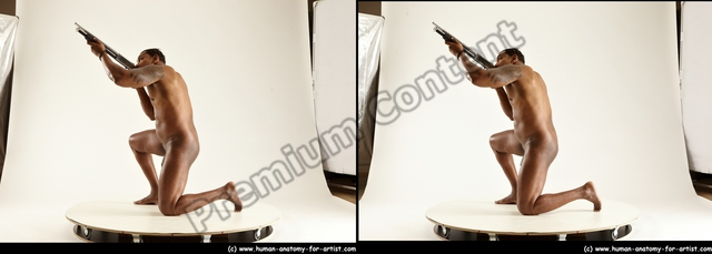 Nude Man Black Kneeling poses - ALL Muscular Short Kneeling poses - on one knee Black 3D Stereoscopic poses