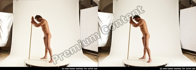 Nude Holding Man White Standing poses - ALL Muscular Short Brown Standing poses - simple 3D Stereoscopic poses