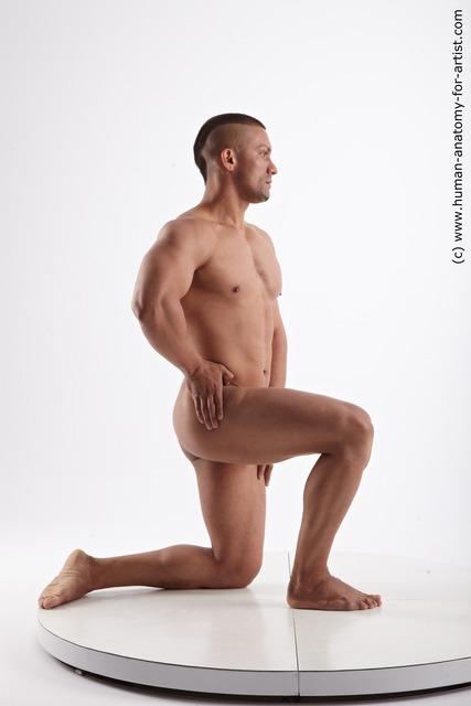 Nude Man Black Kneeling poses - ALL Muscular Short Kneeling poses - on one knee Black