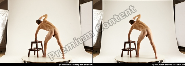 Photo of Nude Man White Standing poses - ALL Athletic Short Brown Standing poses - simple 3D Stereoscopic poses