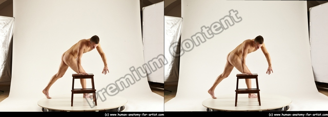 Nude Man White Standing poses - ALL Athletic Short Brown Standing poses - simple 3D Stereoscopic poses