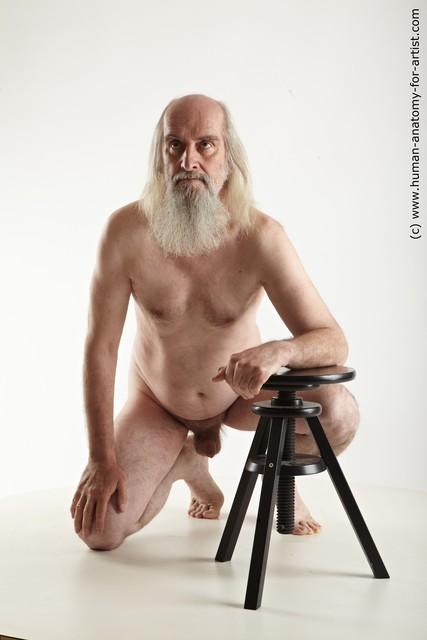 Nude Man White Kneeling poses - ALL Average Long Grey Kneeling poses - on one knee