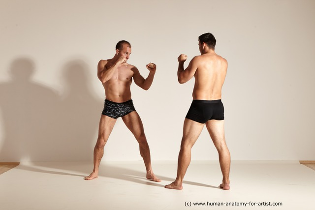 Underwear Fighting Man - Man White Muscular Short Brown Dynamic poses
