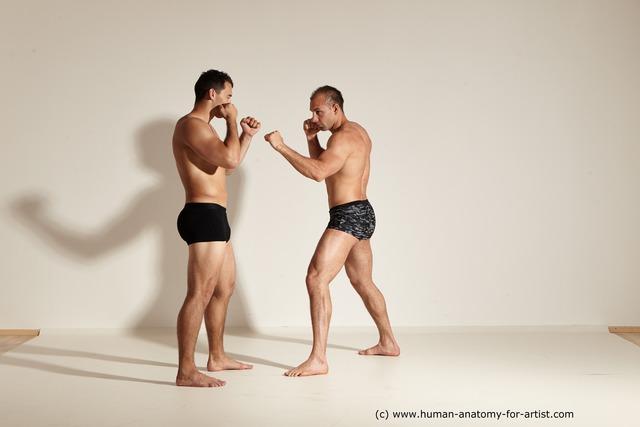 Underwear Fighting Man - Man White Muscular Short Brown Dynamic poses