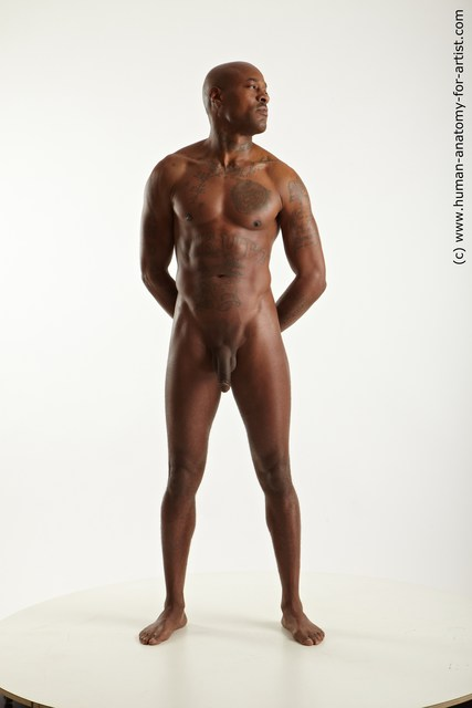 Nude Man Black Standing poses - ALL Slim Bald Standing poses - simple