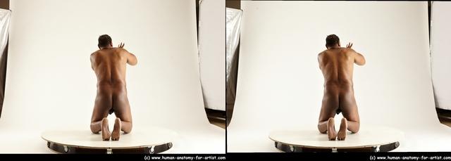 Nude Man Black Kneeling poses - ALL Average Short Kneeling poses - on both knees Black 3D Stereoscopic poses
