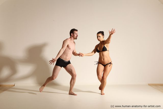 Underwear Woman - Man White Average Short Brown Dancing Dynamic poses