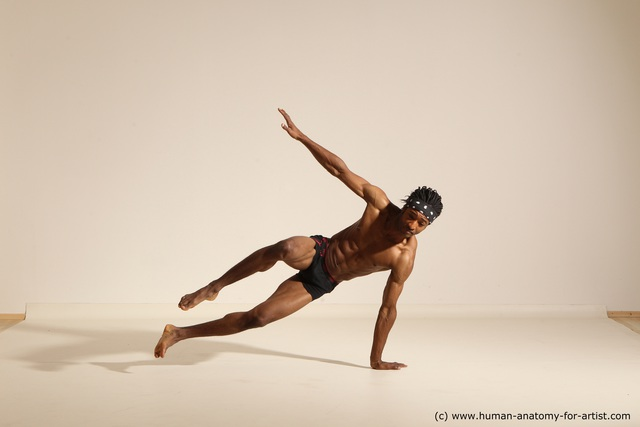 Underwear Man Another Athletic Black Dancing Dreadlocks Dynamic poses