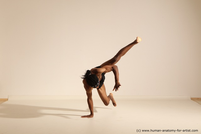 Underwear Man Another Athletic Black Dancing Dreadlocks Dynamic poses