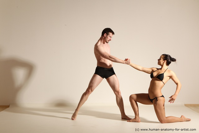 Underwear Woman - Man Athletic Dancing Dynamic poses