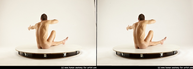 Nude Man White Slim Short Brown 3D Stereoscopic poses