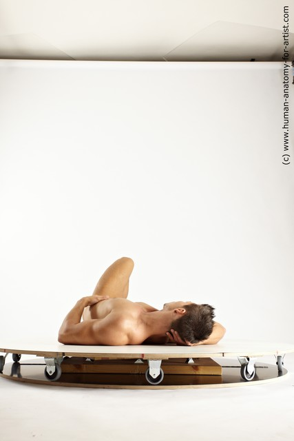 Nude Man White Laying poses - ALL Athletic Short Brown Laying poses - on back Multi angles poses