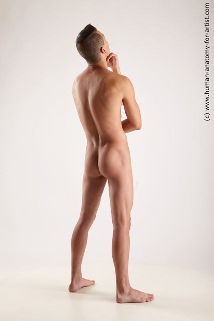 Nude Man White Athletic Short Brown Standard Photoshoot