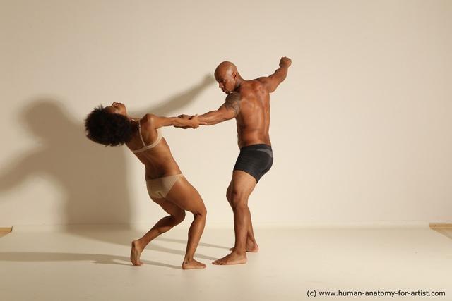 Underwear Woman - Man Another Athletic Black Dancing Dreadlocks Dynamic poses