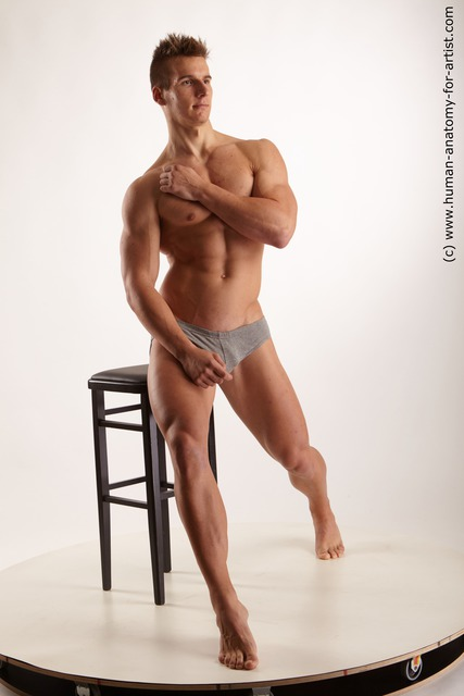 Underwear Man White Sitting poses - simple Athletic Short Blond Sitting poses - ALL Standard Photoshoot