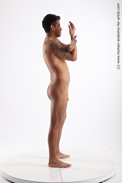Nude Man Another Standing poses - ALL Slim Short Black Standing poses - simple Standard Photoshoot