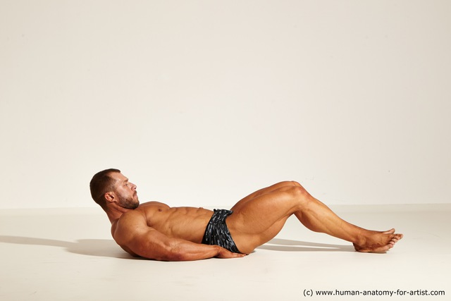 Underwear White Moving poses Muscular Short Brown Dynamic poses