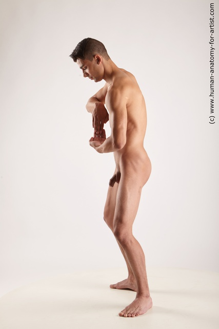 Nude Man White Athletic Short Black Standard Photoshoot
