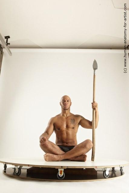 Underwear Fighting Man Black Muscular Bald Multi angles poses
