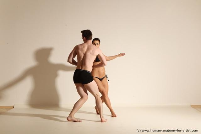 Swimsuit Woman - Man White Slim Dancing Dynamic poses