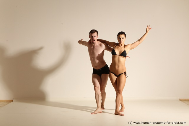 Swimsuit Woman - Man White Slim Dancing Dynamic poses