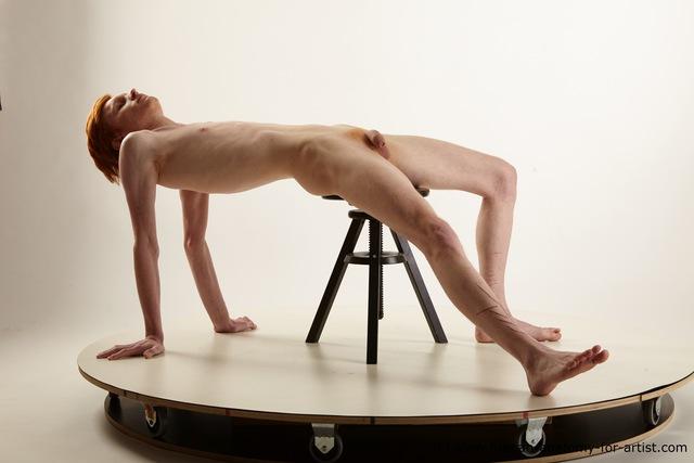Nude Man White Underweight Short Red Standard Photoshoot