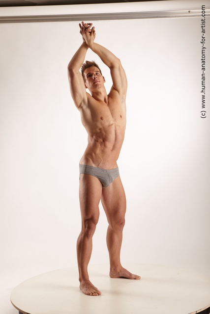 Underwear Man White Standing poses - ALL Muscular Short Brown Standing poses - simple Standard Photoshoot