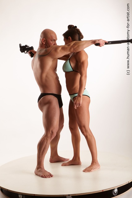 Swimsuit Fighting with gun Woman - Man White Muscular Standard Photoshoot