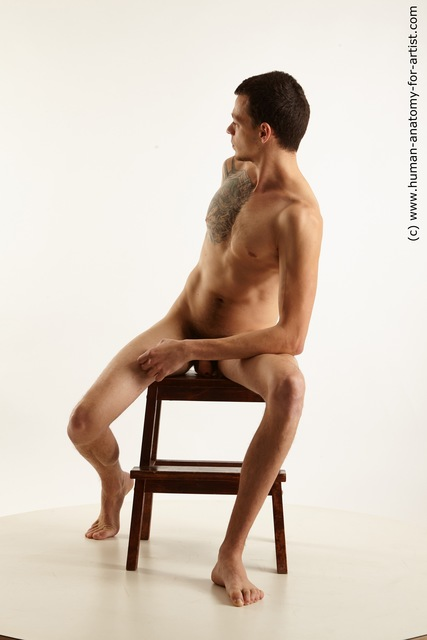 Nude Man White Sitting poses - simple Slim Short Brown Sitting poses - ALL Standard Photoshoot