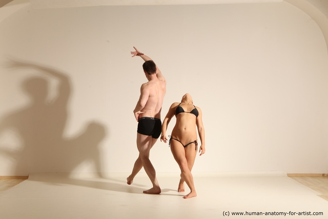 Underwear Woman - Man White Athletic Brown Dancing Dynamic poses