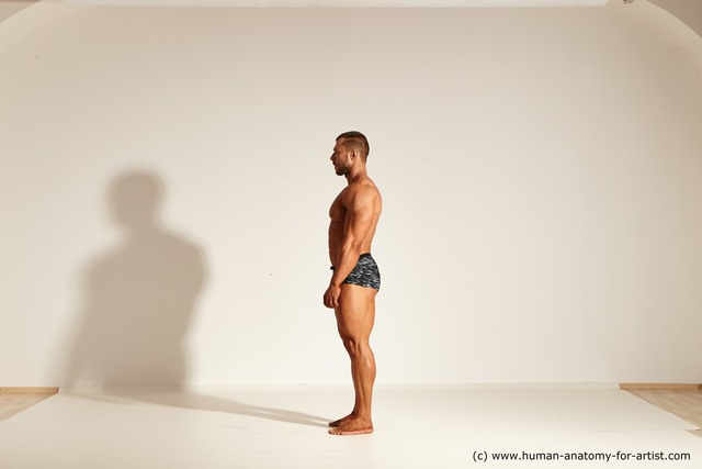 Underwear Gymnastic poses Man White Moving poses Muscular Short Brown Dynamic poses