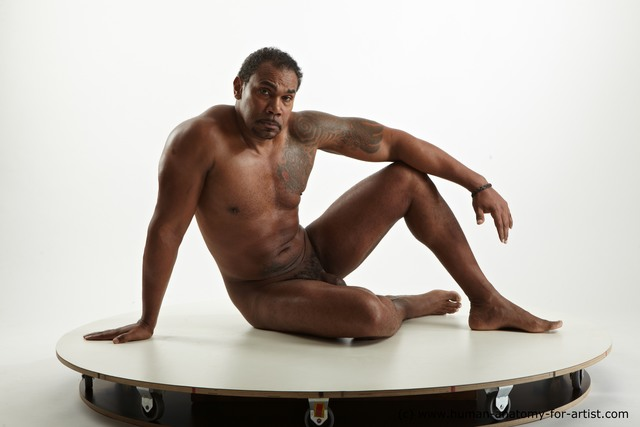 Nude Man Black Muscular Short Black Standard Photoshoot