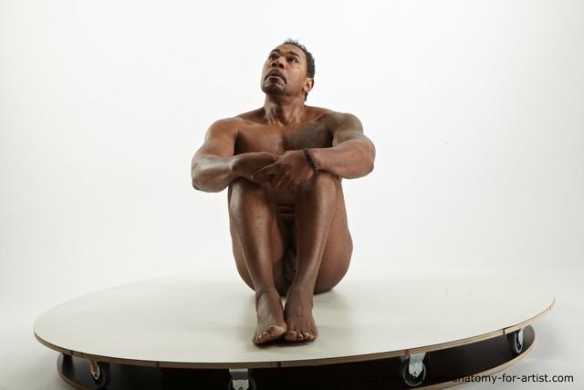 Nude Man Black Muscular Short Black Standard Photoshoot