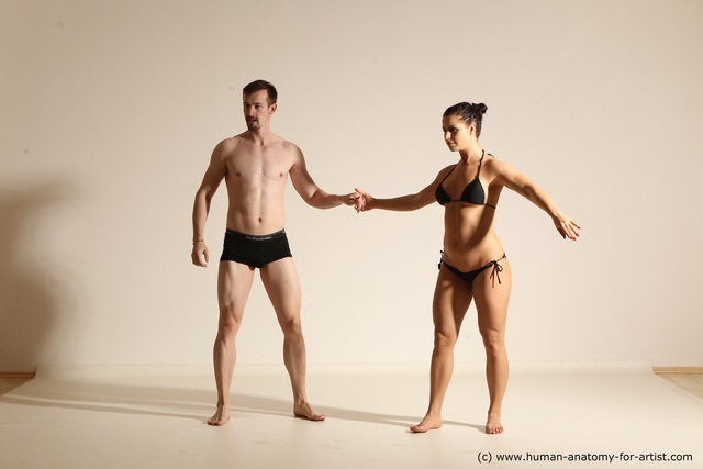 Swimsuit Woman - Man White Slim Brown Dancing Dynamic poses