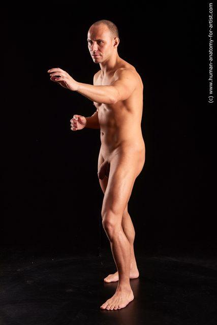 Nude Man White Muscular Bald Brown Standard Photoshoot