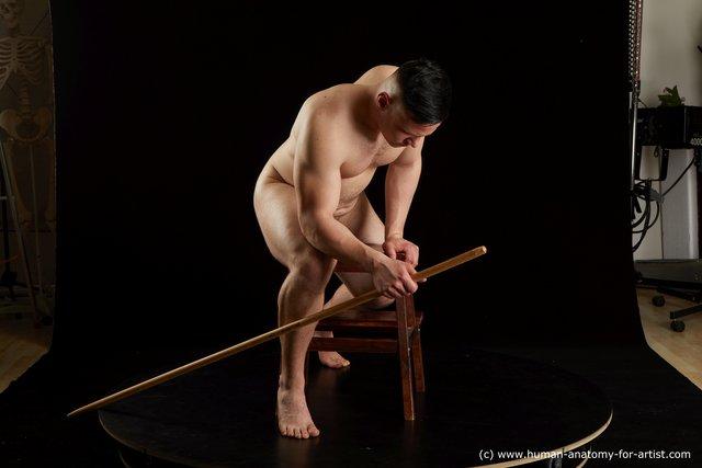 Nude Man White Chubby Short Brown Standard Photoshoot
